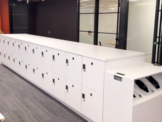 Workplace Islands with Laminate Recycle End Cap