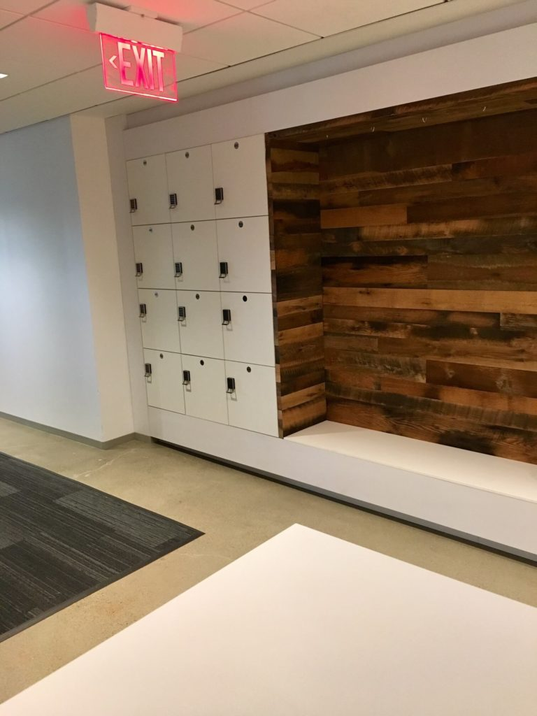Workplace lockers with seating, agile scrum spaces