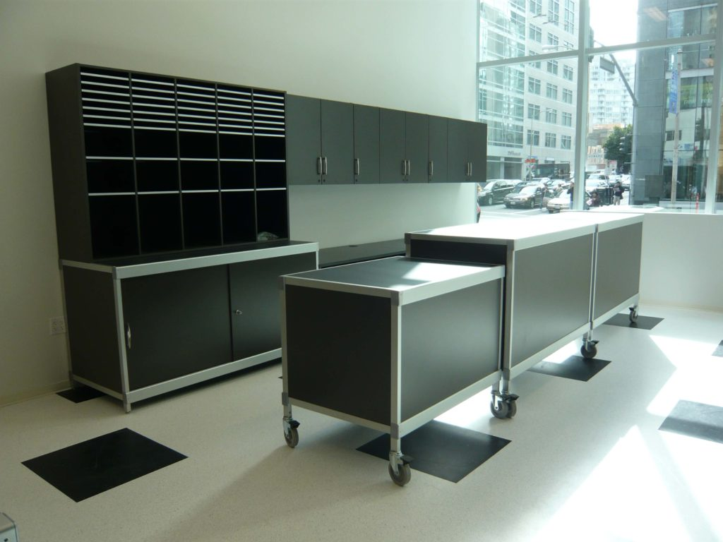 Workplace Mail Sorter Unit with mobile islands, casters
