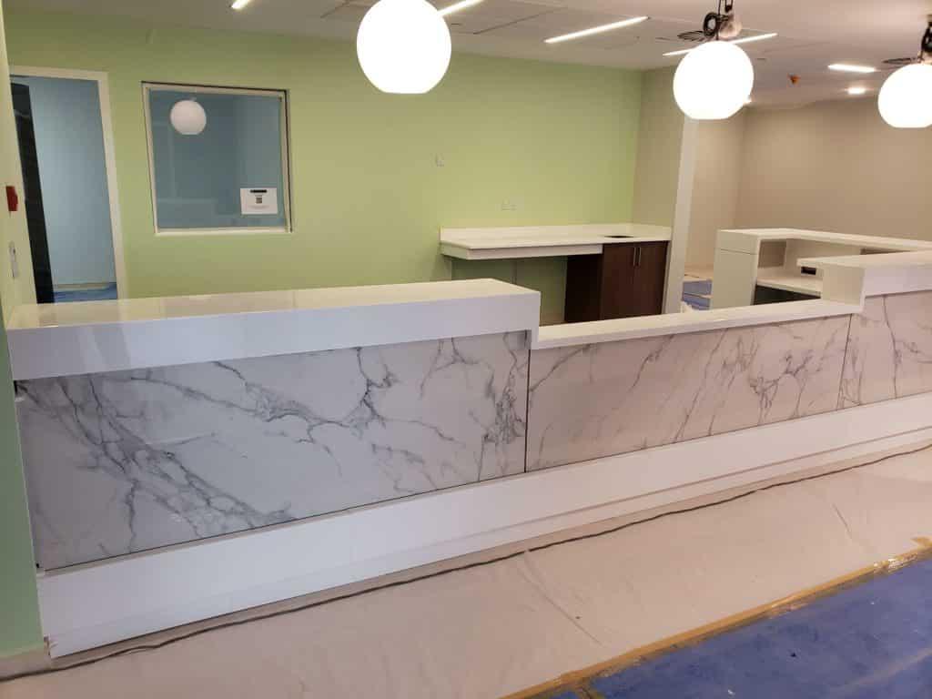 reception desk, modern workplace - custom reception station