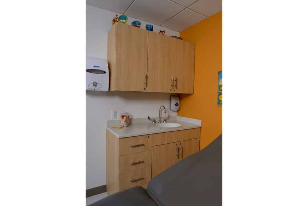 Pine laminate Base Cabinets with sink - Patient Room Casework