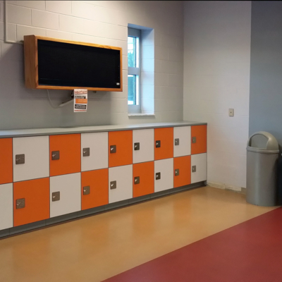 Keypad Locks - Orange and white Laminate Parcel Delivery Lockers